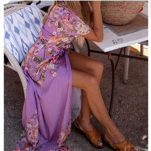"""Spell / FP lovely """"blue skies"""" violet wrap dress"""